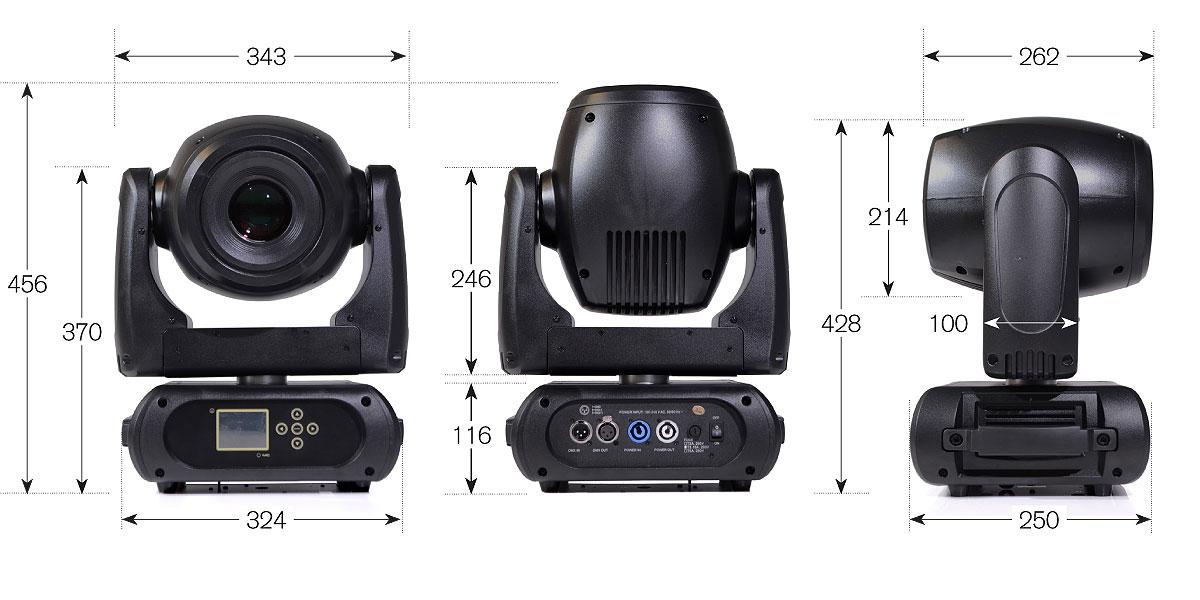 Dimensions-Impact-150-LED-spot